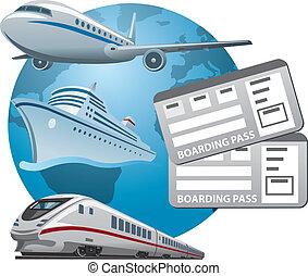 bilhetes, viagem, ícone
