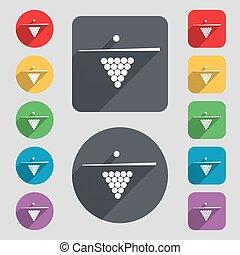 biliárd-, pocsolya, játék, felszerelés, ikon, cégtábla., egy, állhatatos, közül, 12, színezett, gombok, és, egy, hosszú, shadow., lakás, design., vektor