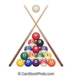 biliardo, legno, vettore, palle, stagno, cominciando, suggerimenti, posizione, attraversato