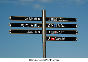 bilingual direction in Wales - modern bilingual Signs like...