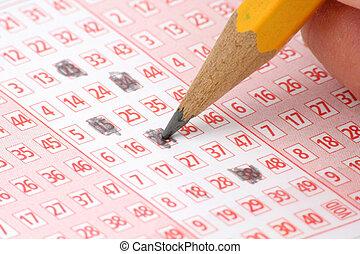 biljett, blyertspenna, lotteri