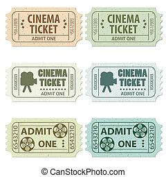 biljett, sätta, bio