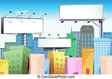 Bill Board in City - illustration of blank bill board in...