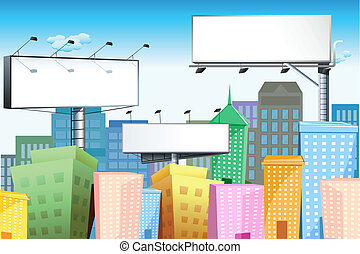 Bill Board in City - illustration of blank bill board in...
