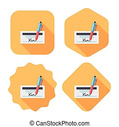 bill check flat icon with long shadow,eps10