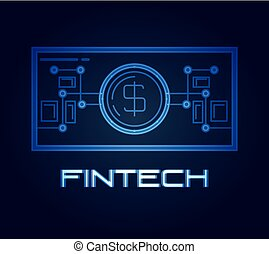 bill dollar fintech icon vector ilustration