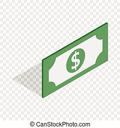 Bill dollar isometric icon 3d on a transparent background...