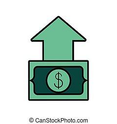bill dollar money with arrow up