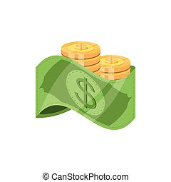 bill dollar money with coins