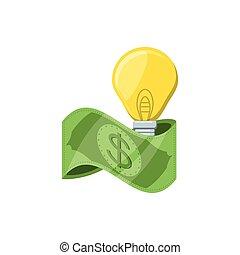 bill dollar money with light bulb