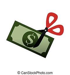 bill dollar money with scissor cutting