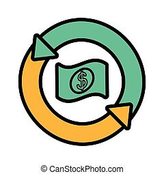 bill dollar with arrows in circle