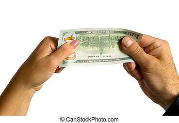 bill., donna, mano uomo, hundred-dollar, presa