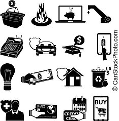 Bill payments icons set