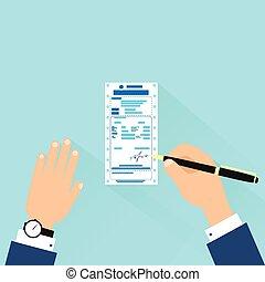 bill sign up, businessman hands with pen payment flat design