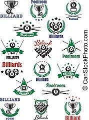 billar, snooker, emblemas, piscina