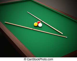 billard, 3d, piscine, cue., table, 3, balles, coussin, illustration
