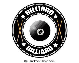 billard, etikett