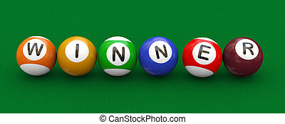 billard, gagnant, balles mare, 3d