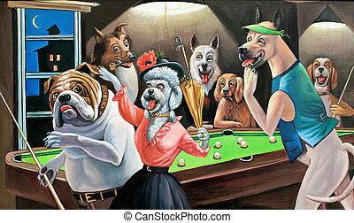 billard, hunden, spielende