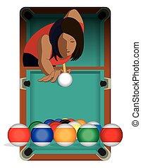 billards player female with billiards table