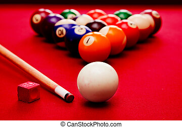 Billards pool game. Cue ball, cue, color balls in triangle,...