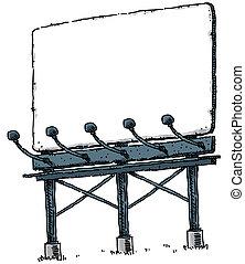 Billboard - A blank, cartoon billboard with lower lights.