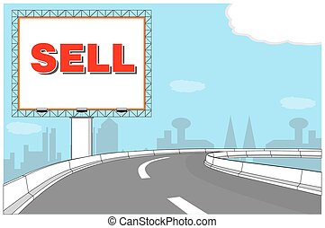 Billboard advertisement on expressway vector illustration