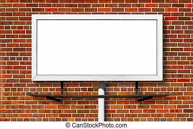 Billboard Advertising Sign on Brick Background - Blank...