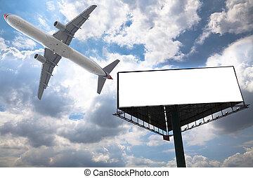 billboard and airplane