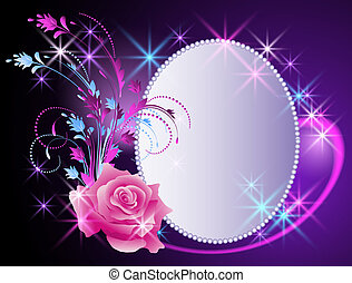Billboard and flowers ornament - Glowing background with...