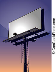 Billboard at Sunset - Roadside billboard sign at sunset with...