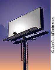 Billboard at Sunset - Roadside billboard sign at sunset with...