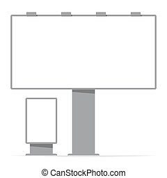 billboard board and citylight, screen, contour; vector...