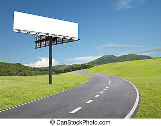 billboard by the road - blank billboard beside an empty...