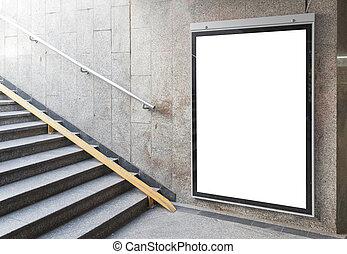 billboard, cartaz, ou, corredor, em branco