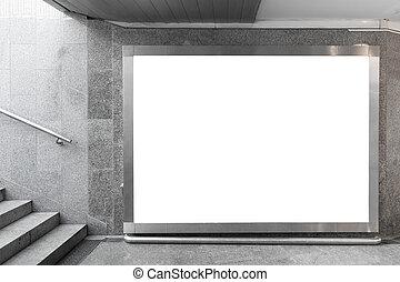billboard, corredor, em branco