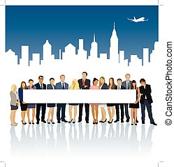 Billboard - Crowd of businesspeople standing and holding big...