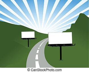 billboard, desenho, estrada, ilustração
