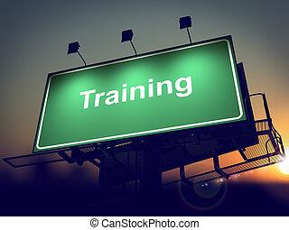 billboard, experiência., treinamento, -, amanhecer