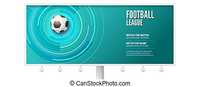 Billboard for the football championship. Stylish dynamic background with realistic 3d ball for play in soccer. Vector template for sport events isolated on white background.