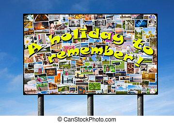 billboard, fotografias, feriado, slogan