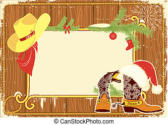 Billboard frame with cowboy boots and Santa's red hat on wood wall. Vector christmas background for text