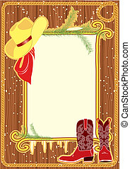 Billboard frame with cowboy hat and boots on wood wall - ...