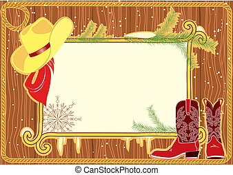Billboard frame with cowboy hat and boots on wood wall
