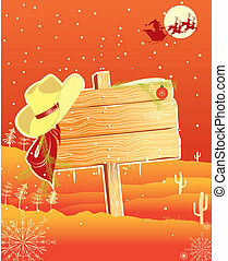 Billboard frame with cowboy hat. Vector christmas background for