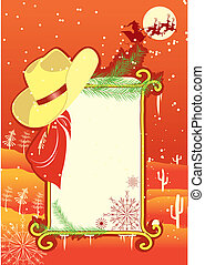 Billboard frame with cowboy hat. Vector christmasn background for