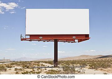 billboard, grande, deserto, em branco