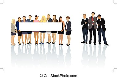 Billboard - Group of women standing and holding a blank...