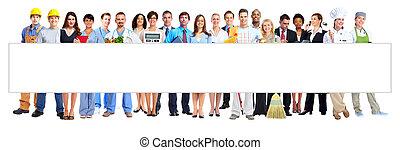 billboard., grupo, pessoas negócio